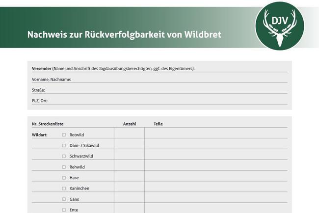 Screenshot Formular Rückverfolgbarkeit