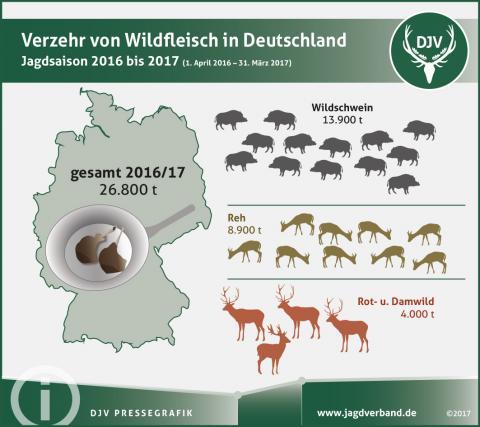 Verzehr von Wildfleisch in Deutschland: Jagdsaison 2016 bis 2017