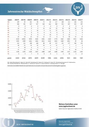 Waldschnepfe: Jagdstatistik 2006-2017