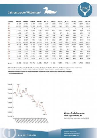 Wildenten: Jagdstatistik 2007-2018