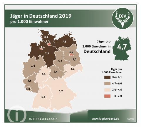 Jäger in Deutschland 2019 pro 1.000 Einwohner