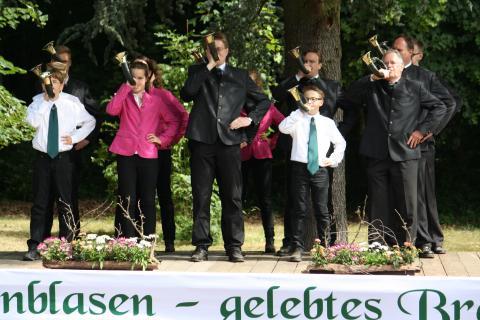 Bläsergruppe am Bundeswettbewerb Jagdhornblasen in Kranichstein