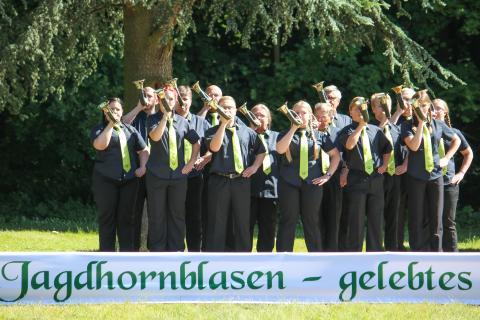 Drittplaziert in der Klasse A: Kreisjagdverein Gelnhausen aus Hessen beim Bundeswettbewerb Jagdhornblasen 2017