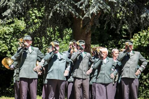 Drittplatziert in der Klasse G: Bläsergruppe Hameln-Pyrmont aus Niedersachsen beim Bundeswettbewerb Jagdhornblasen 2017