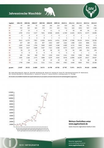 Waschbär: Jagdstatistik 2004-2014