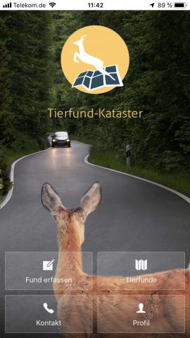Die App bietet ein modernes Design. Innerhalb weniger Klicks können Tierfunde erfasst und angesehen werden.