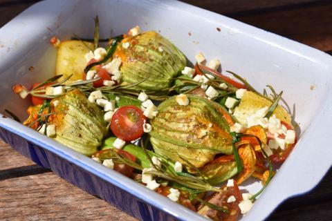 Zucchiniblüten, Tomaten und Rosmarin in Auflaufform geben. Mit Öl beträufeln, salzen, pfeffern und mit Fetakäse bestreuen. Für zirka 15 Minuten backen. (Quelle: Kapuhs/DJV)